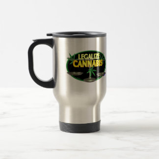 Legalize cannibis scales of justice on silver travel mug