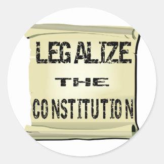 Legalize The Constitution Classic Round Sticker