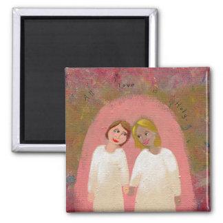 Legally Wed Lesbian gay wedding folk art painting Fridge Magnet
