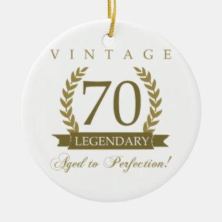 Legendary 70th Birthday Round Ceramic Decoration