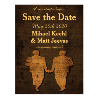 Legendary Love Save the Date Postcard Gay Wedding