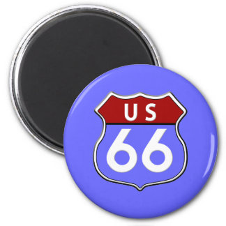 Legendary Route 66 Road Sign Blue Magnet