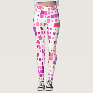 Leggings adorned with squares of pink and purple
