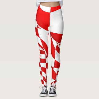 Leggings - All Over - Modified Red Checkered Flag