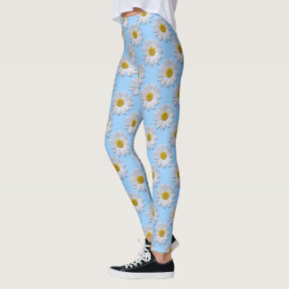 Leggings - All Over - New Daisies On Blue