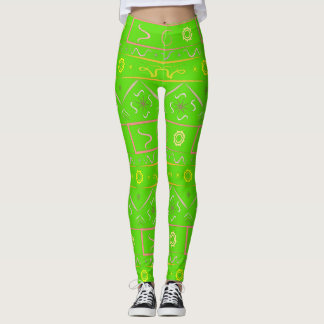 Leggings color gently green with ethnic pattern