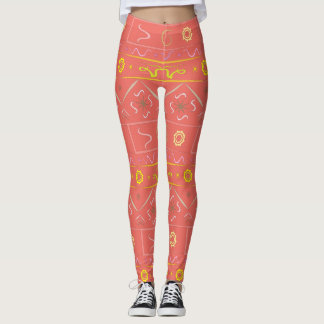 Leggings coral with ethnic pattern