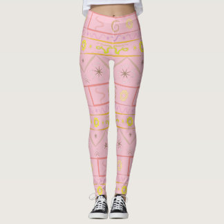 Leggings gently pink with ethnic pattern