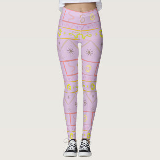 Leggings gently purple with ethnic pattern