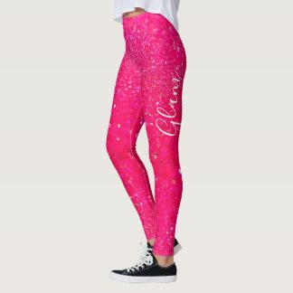 Leggings - Hot Pink Glitter Glam