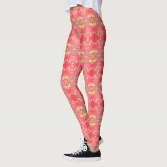 Leggings in  Golden Green and Coral