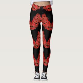 Leggings in Red and BLack Unique Roses