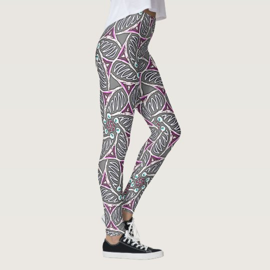 Leggings Jimette Design of white and pink gray
