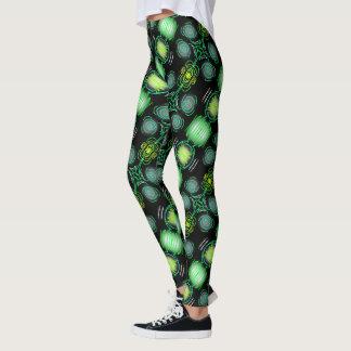 Leggings Jimette green Design on black