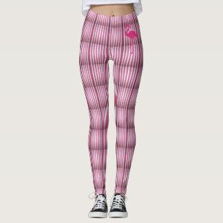Leggings stripes with pink flamingo
