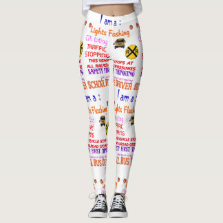 leggings with a school bus driver design