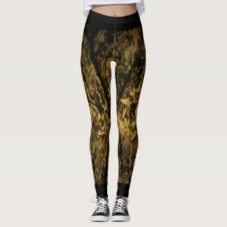 Leggings with Digital Art - Yellow and Black Trees