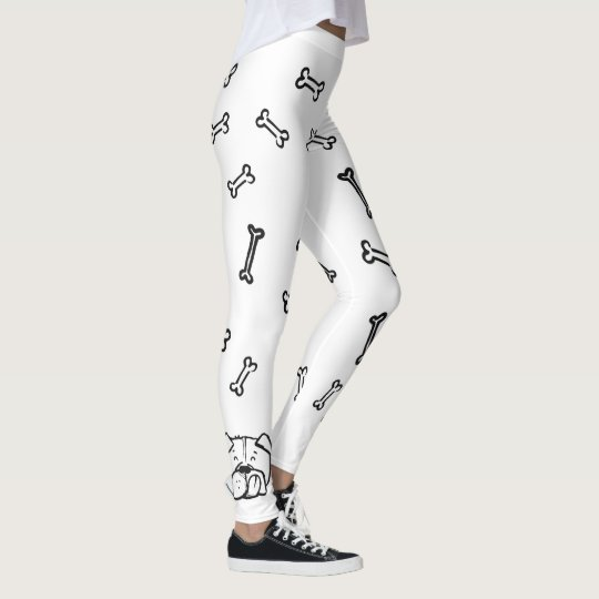 Leggings with english bulldog and bones pattern