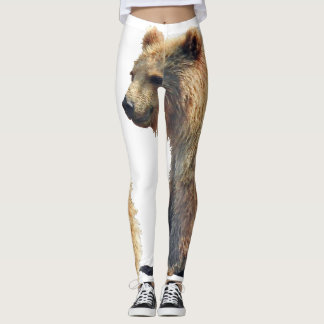 leggings with grizzly bear cub