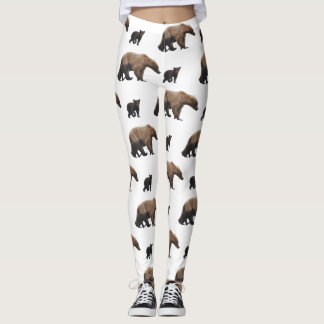 leggings with grizzly bear family