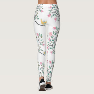 Leggings with Pink Flower Clusters and Birds