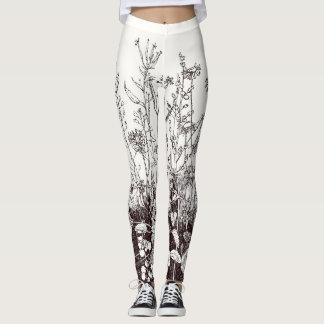 Leggings with Wildflower Print in Brown