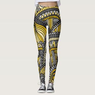 Leggings, Yellow and Gray Zendoodle Pattern Leggings
