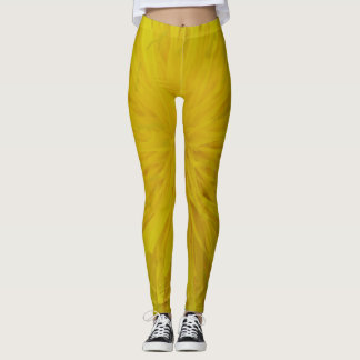 Leggins yellow dandelion pattern leggings