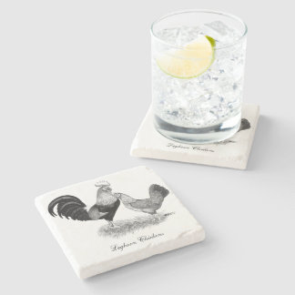 Leghorns Production Brown Chickens Stone Coaster