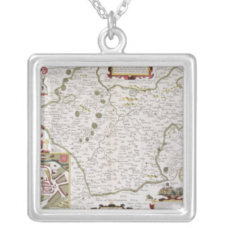 Leicester, engraved by Jodocus Hondius Silver Plated Necklace