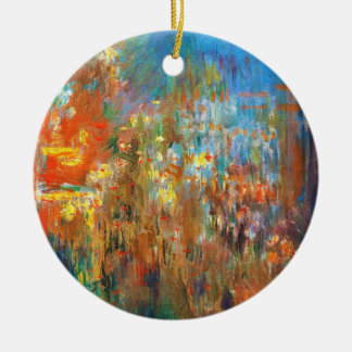 Leicester Square at Night Claude Monet fine art Double-Sided Ceramic Round Christmas Ornament