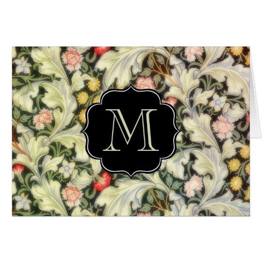 Leicester Vintage Floral Monogrammed Card