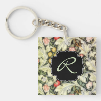 Leicester Vintage Floral with Custom Monogram Double-Sided Square Acrylic Key Ring