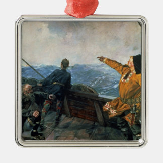 Leif Eriksson  sights land in America, 1893 Christmas Ornament