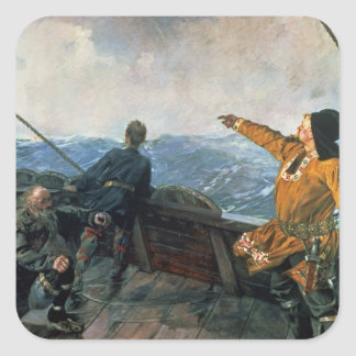 Leif Eriksson  sights land in America, 1893 Square Sticker