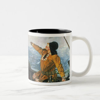 Leif Eriksson  sights land in America, 1893 Two-Tone Coffee Mug