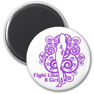 Leiomyosarcoma Abstract Fight Like a Girl 6 Cm Round Magnet