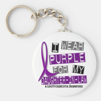 LEIOMYOSARCOMA I Wear Purple For My Daughter-In-La Basic Round Button Key Ring