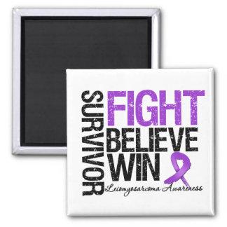 Leiomyosarcoma Survivor Fight Believe Win Motto Square Magnet