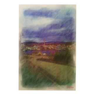 Leirvik City Wood Print
