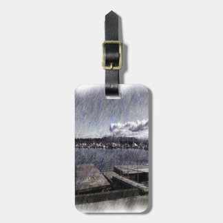 Leirvik harbor with boat luggage tag