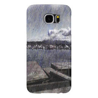 Leirvik harbor with boat samsung galaxy s6 cases
