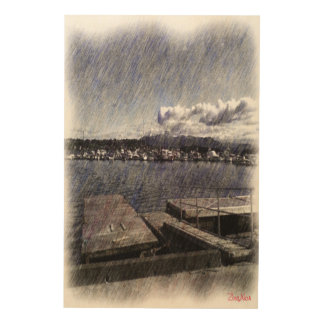 Leirvik harbor with boat wood print