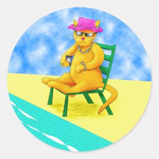 Leisure Cat Round Sticker