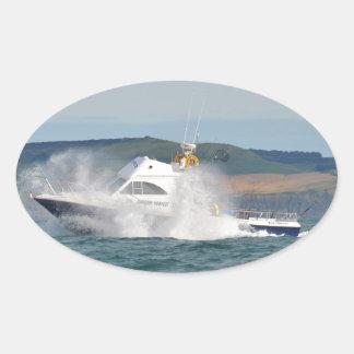 Leisure Fishing Boat Oval Sticker