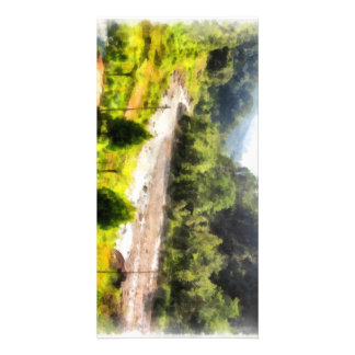 Leisurely flow of river through greenery customized photo card