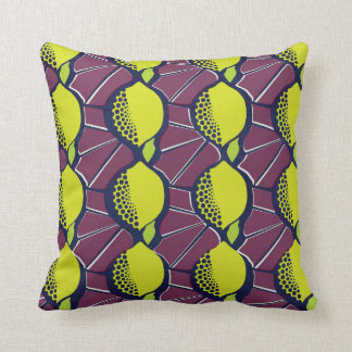 Lemon African Wax Style Print Cushion