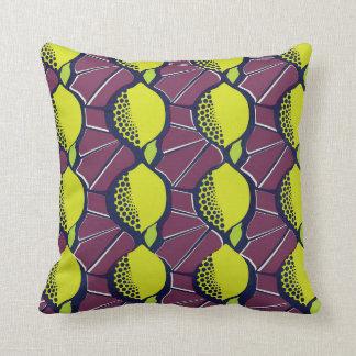 Lemon African Wax Style Print Throw Pillow