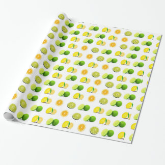 Lemon and Lime Green and Yellow Striped Gift Wrap