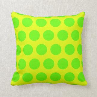 Lemon and Lime Green Polka Dots Cushion